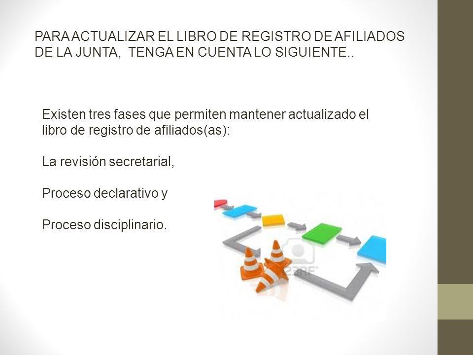 PARA ACTUALIZAR EL LIBRO DE REGISTRO DE AFILIADOS DE LA JUNTA, TENGA EN CUENTA LO SIGUIENTE.. Existen tres fases que permiten mantener actualizado el