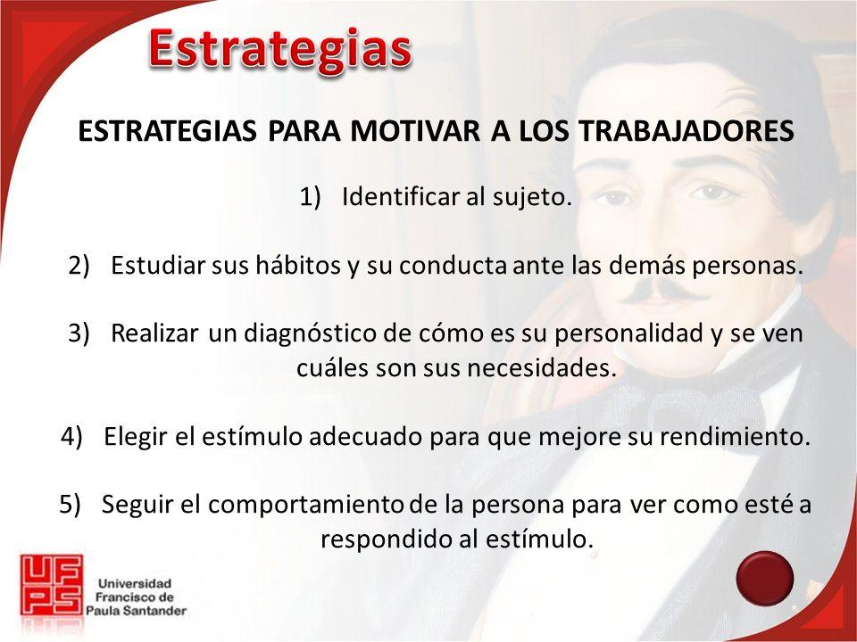 ESTRATEGIAS PARA MOTIVAR A LOS TRABAJADORES 1)Identificar al sujeto. 2)Estudiar sus hábitos y su conducta ante las demás personas. 3)Realizar un diagn