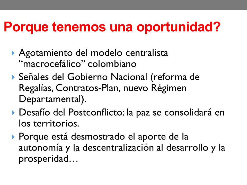 Porque tenemos una oportunidad? Agotamiento del modelo centralista macrocefálico colombiano Señales del Gobierno Nacional (reforma de Regalías, Contra