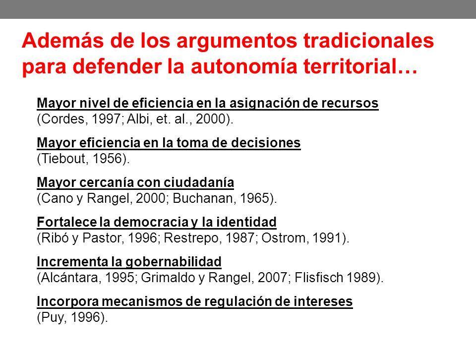 Además de los argumentos tradicionales para defender la autonomía territorial… Mayor nivel de eficiencia en la asignación de recursos (Cordes, 1997; A