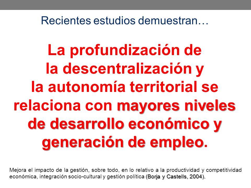 Recientes estudios demuestran… mayores niveles de desarrollo económico y generación de empleo La profundización de la descentralización y la autonomía territorial se relaciona con mayores niveles de desarrollo económico y generación de empleo.