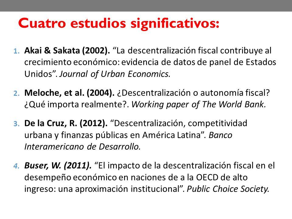 1. Akai & Sakata (2002). La descentralización fiscal contribuye al crecimiento económico: evidencia de datos de panel de Estados Unidos. Journal of Ur