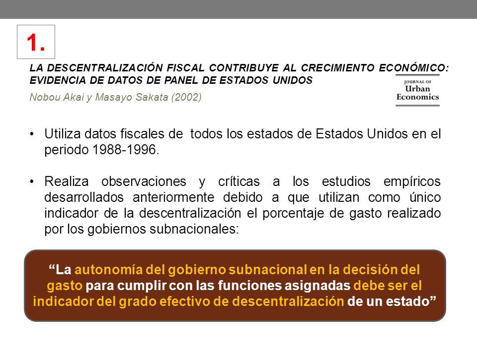 LA DESCENTRALIZACIÓN FISCAL CONTRIBUYE AL CRECIMIENTO ECONÓMICO: EVIDENCIA DE DATOS DE PANEL DE ESTADOS UNIDOS Nobou Akai y Masayo Sakata (2002) Utili