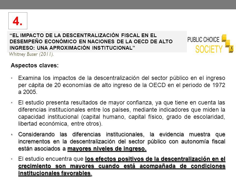 EL IMPACTO DE LA DESCENTRALIZACIÓN FISCAL EN EL DESEMPEÑO ECONÓMICO EN NACIONES DE LA OECD DE ALTO INGRESO: UNA APROXIMACIÓN INSTITUCIONAL Whitney Buser (2011).