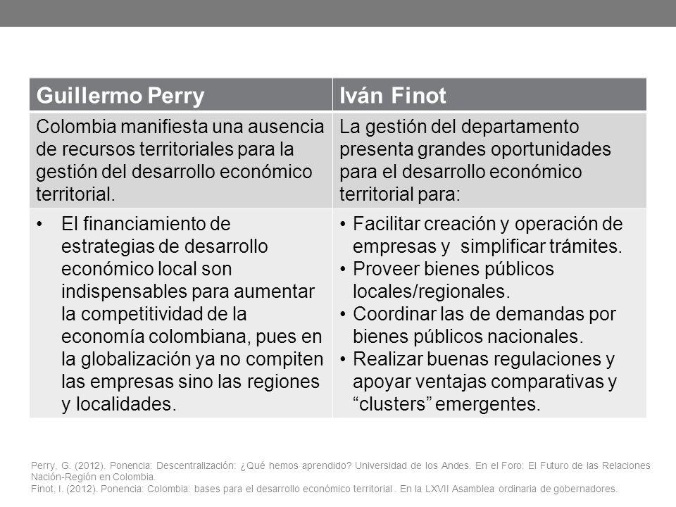 Perry, G. (2012). Ponencia: Descentralización: ¿Qué hemos aprendido? Universidad de los Andes. En el Foro: El Futuro de las Relaciones Nación-Región e