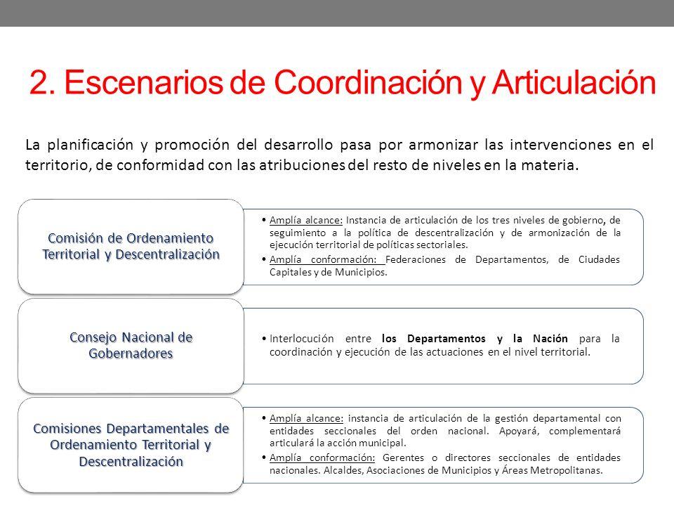 2. Escenarios de Coordinación y Articulación Amplía alcance: Instancia de articulación de los tres niveles de gobierno, de seguimiento a la política d