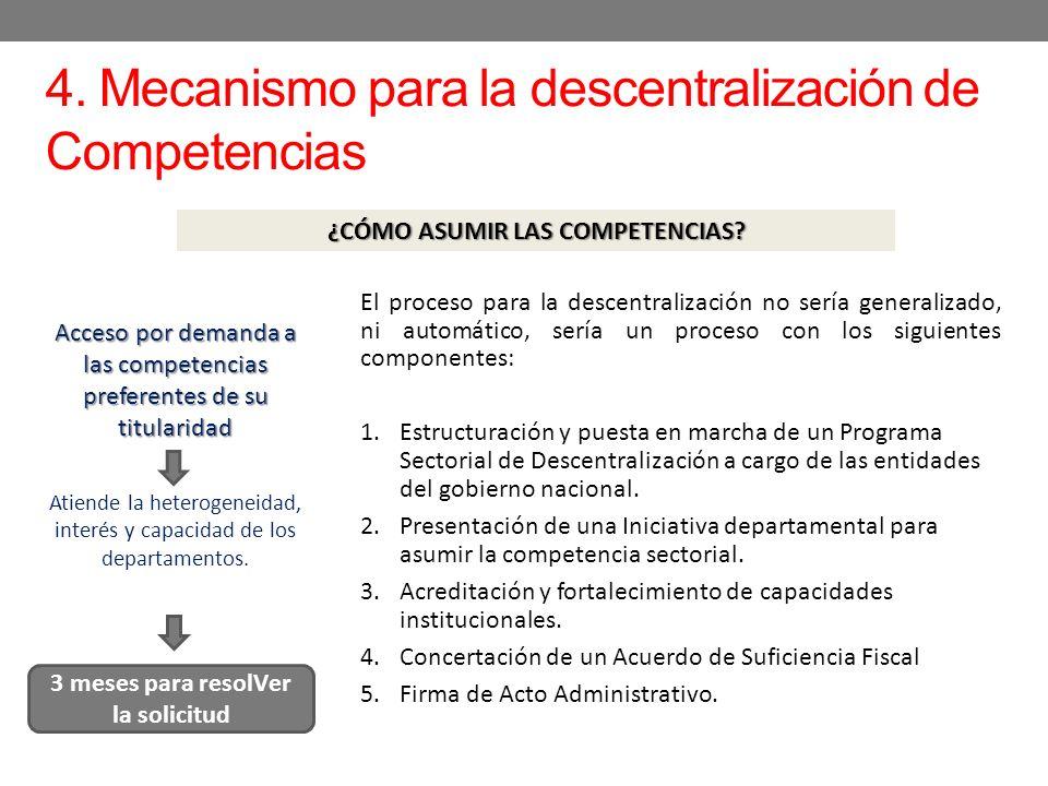 4. Mecanismo para la descentralización de Competencias ¿CÓMO ASUMIR LAS COMPETENCIAS? El proceso para la descentralización no sería generalizado, ni a