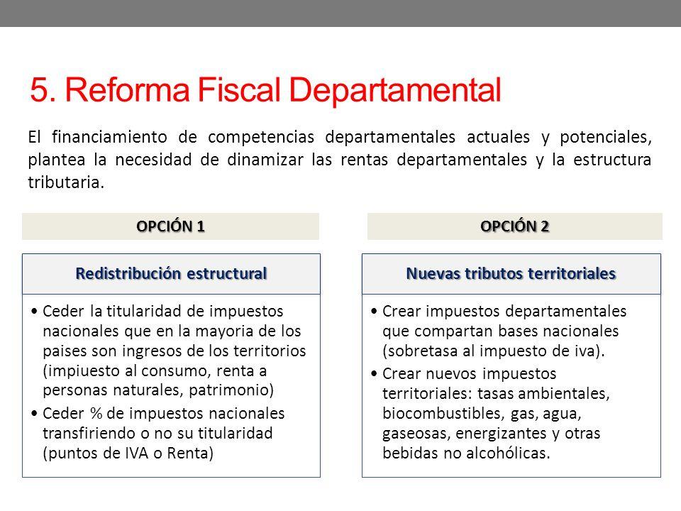 5. Reforma Fiscal Departamental El financiamiento de competencias departamentales actuales y potenciales, plantea la necesidad de dinamizar las rentas