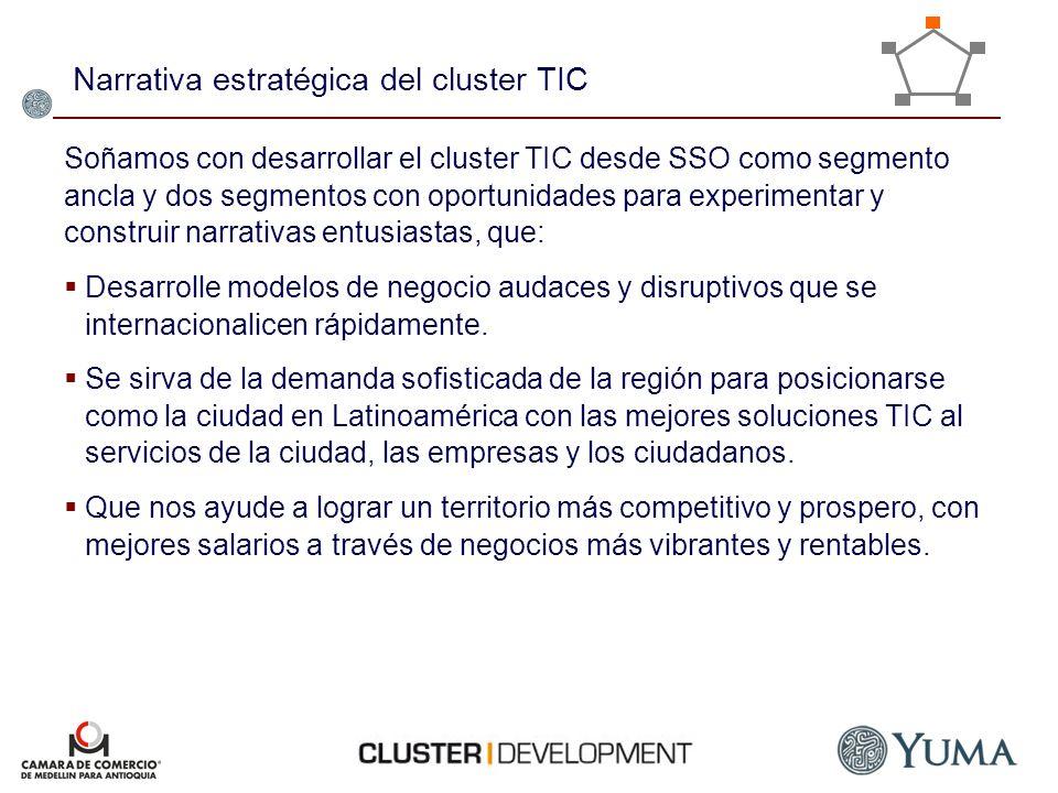 Narrativa estratégica del cluster TIC Soñamos con desarrollar el cluster TIC desde SSO como segmento ancla y dos segmentos con oportunidades para expe