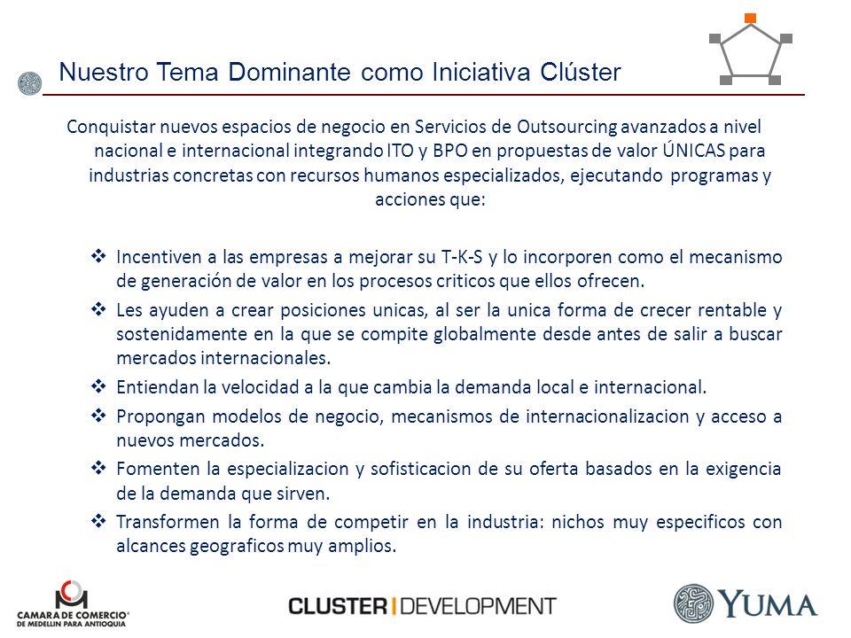 Nuestro Tema Dominante como Iniciativa Clúster Conquistar nuevos espacios de negocio en Servicios de Outsourcing avanzados a nivel nacional e internac