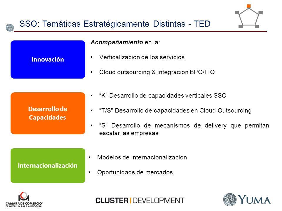 SSO: Temáticas Estratégicamente Distintas - TED Innovación Acompañamiento en la: Verticalizacion de los servicios Cloud outsourcing & integracion BPO/