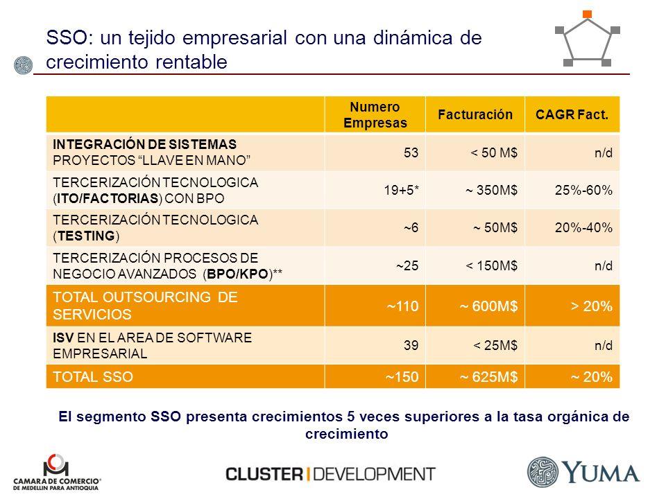 Numero Empresas FacturaciónCAGR Fact. INTEGRACIÓN DE SISTEMAS PROYECTOS LLAVE EN MANO 53< 50 M$n/d TERCERIZACIÓN TECNOLOGICA (ITO/FACTORIAS) CON BPO 1