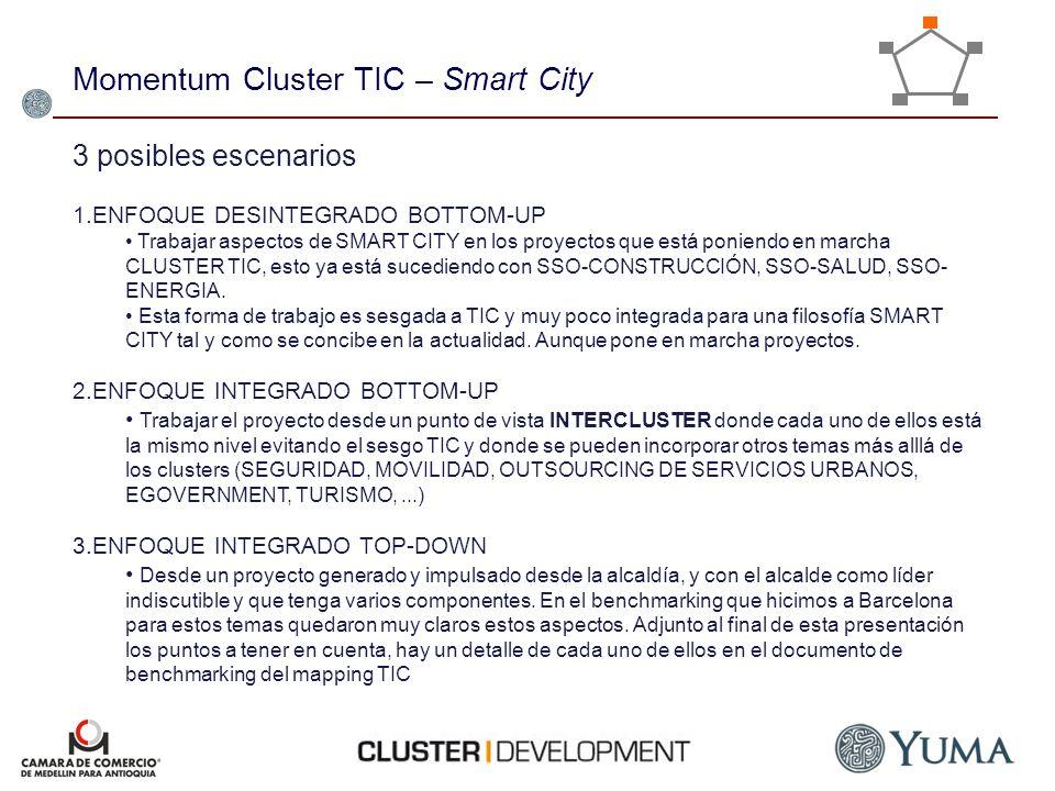 Momentum Cluster TIC – Smart City 3 posibles escenarios 1.ENFOQUE DESINTEGRADO BOTTOM-UP Trabajar aspectos de SMART CITY en los proyectos que está po