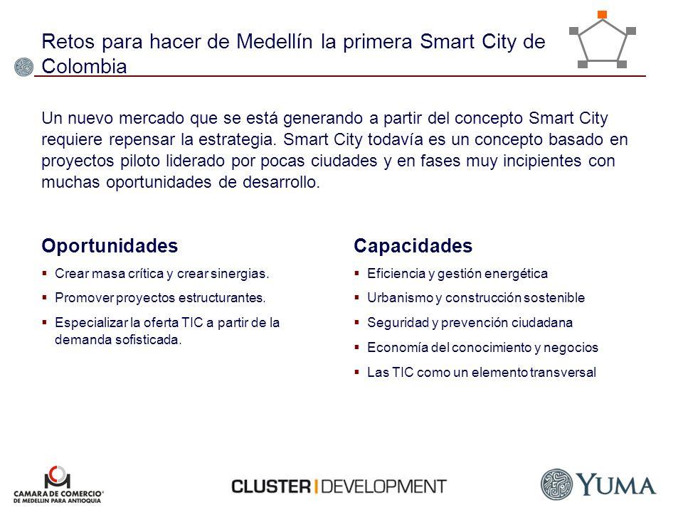 Retos para hacer de Medellín la primera Smart City de Colombia Oportunidades Crear masa crítica y crear sinergias. Promover proyectos estructurantes.