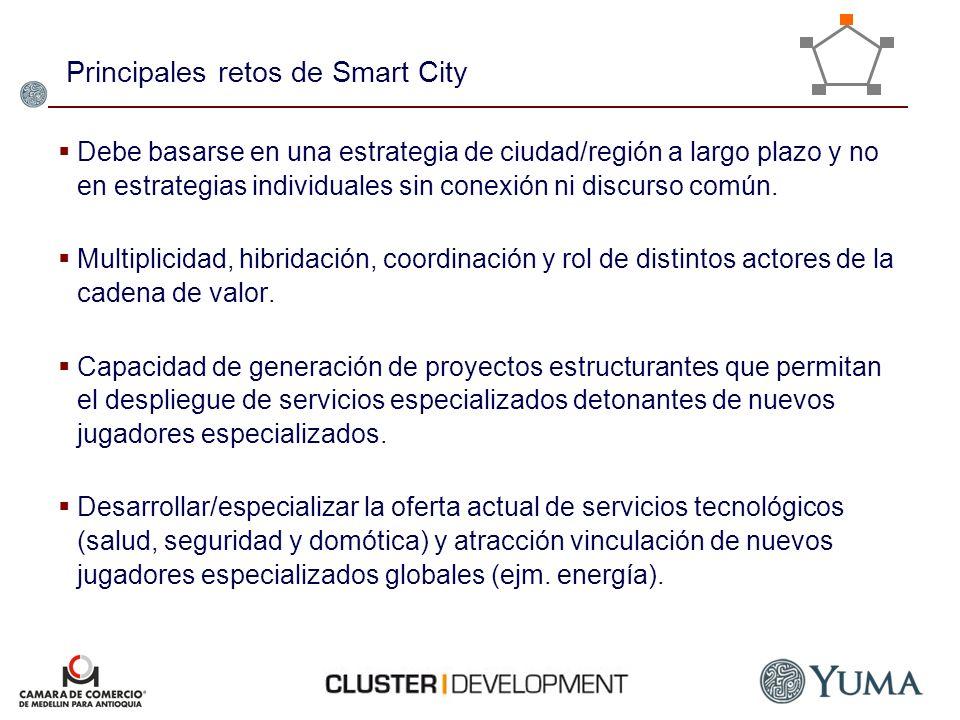 Principales retos de Smart City Debe basarse en una estrategia de ciudad/región a largo plazo y no en estrategias individuales sin conexión ni discurs