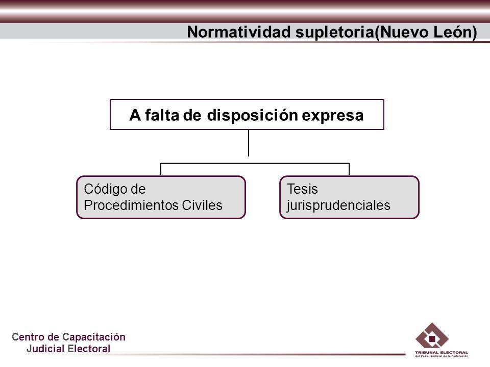 Centro de Capacitación Judicial Electoral Código de Procedimientos Civiles A falta de disposición expresa Normatividad supletoria(Nuevo León) Tesis ju