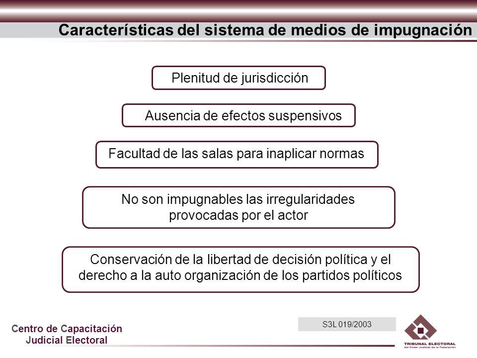 Centro de Capacitación Judicial Electoral Ausencia de efectos suspensivos Plenitud de jurisdicción No son impugnables las irregularidades provocadas p