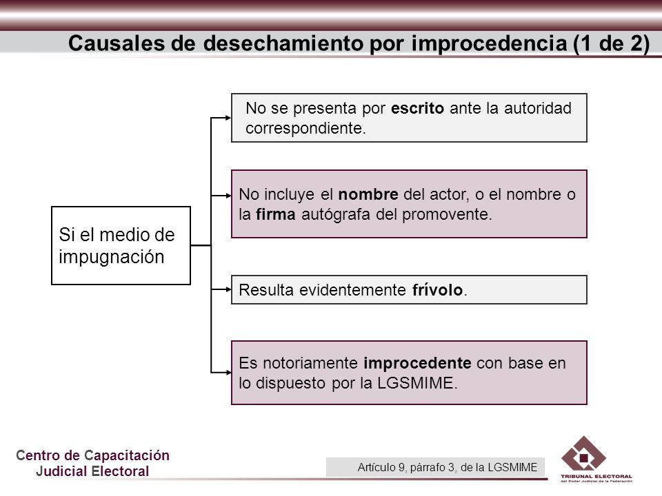 Centro de Capacitación Judicial Electoral Causales de desechamiento por improcedencia (1 de 2) No se presenta por escrito ante la autoridad correspond