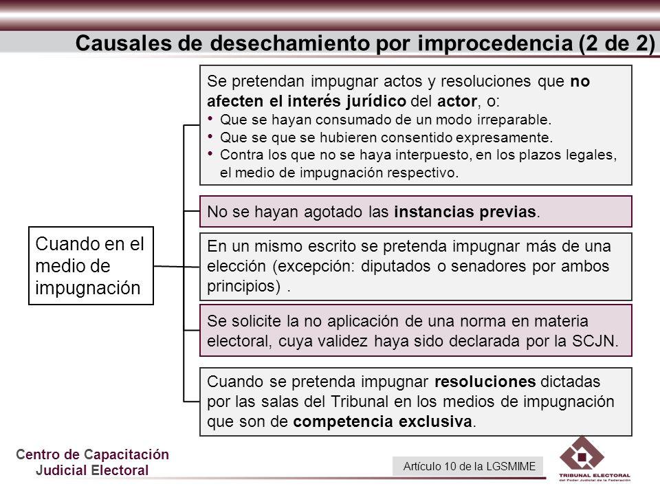Centro de Capacitación Judicial Electoral Causales de desechamiento por improcedencia (2 de 2) Se solicite la no aplicación de una norma en materia el