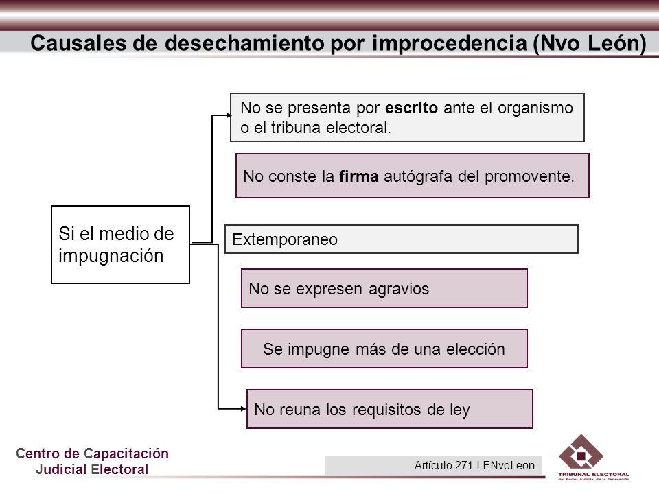 Centro de Capacitación Judicial Electoral Causales de desechamiento por improcedencia (Nvo León) No se presenta por escrito ante el organismo o el tri