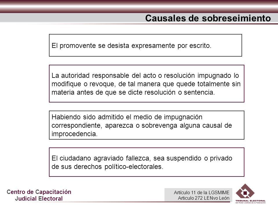 Centro de Capacitación Judicial Electoral Causales de sobreseimiento El ciudadano agraviado fallezca, sea suspendido o privado de sus derechos polític