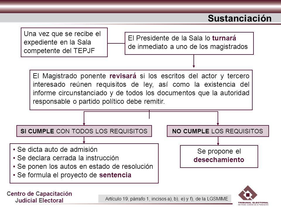 Centro de Capacitación Judicial Electoral Una vez que se recibe el expediente en la Sala competente del TEPJF El Magistrado ponente revisará si los es