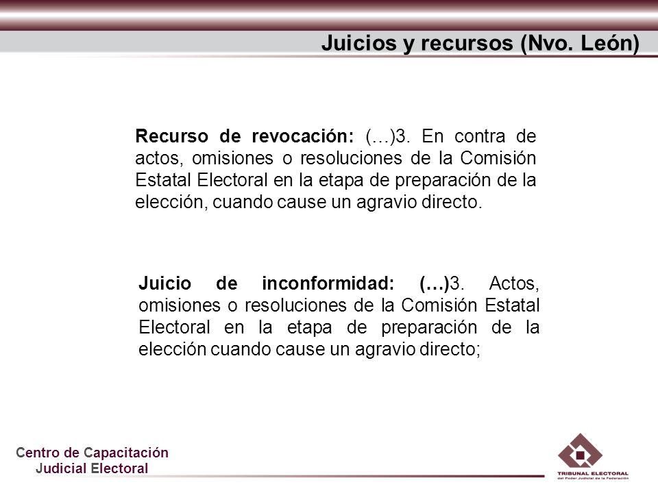 Centro de Capacitación Judicial Electoral Recurso de revocación: (…)3. En contra de actos, omisiones o resoluciones de la Comisión Estatal Electoral e