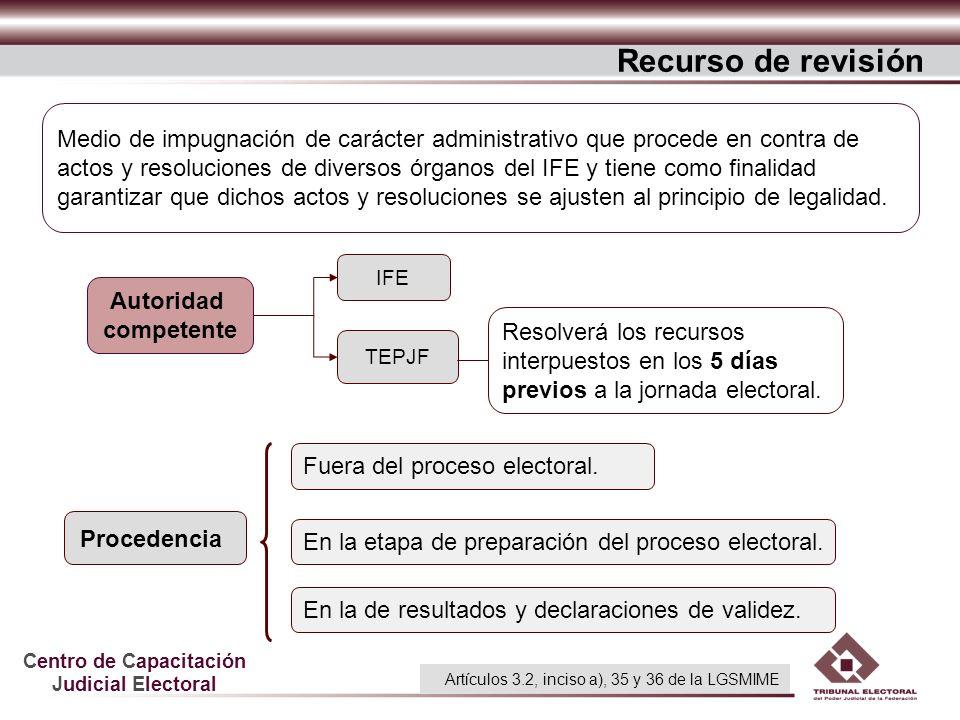 Centro de Capacitación Judicial Electoral Recurso de revisión Procedencia IFE TEPJF Fuera del proceso electoral. En la etapa de preparación del proces