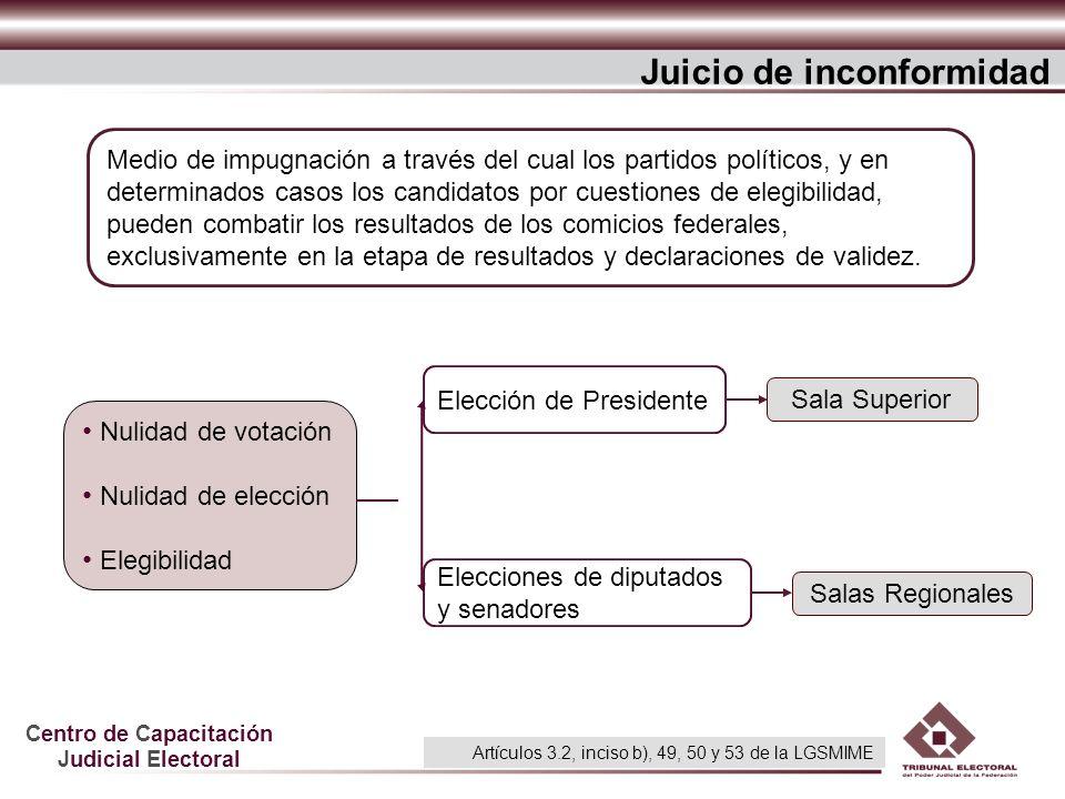 Centro de Capacitación Judicial Electoral Juicio de inconformidad Nulidad de votación Nulidad de elección Elegibilidad Salas Regionales Sala Superior