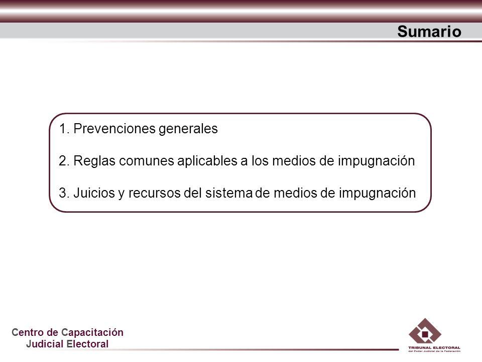 Centro de Capacitación Judicial Electoral 1. Prevenciones generales 2. Reglas comunes aplicables a los medios de impugnación 3. Juicios y recursos del