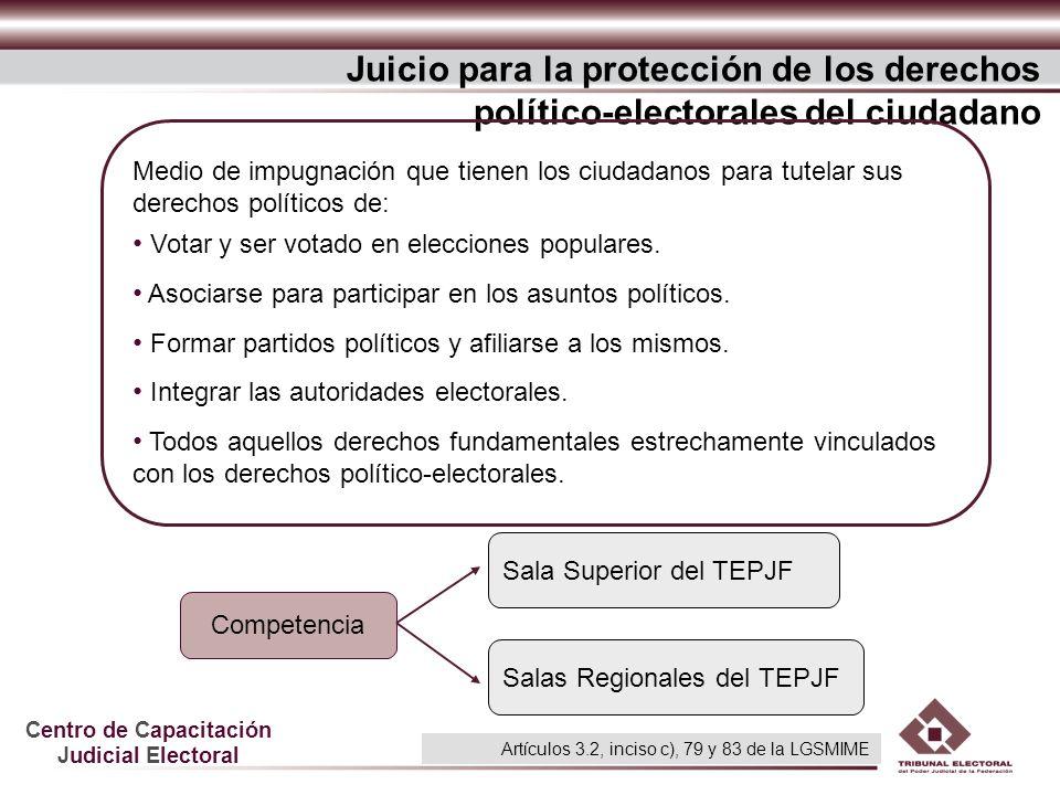 Centro de Capacitación Judicial Electoral Juicio para la protección de los derechos político-electorales del ciudadano Competencia Salas Regionales de