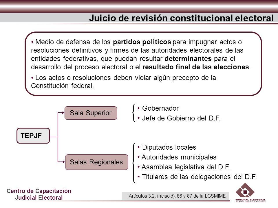Centro de Capacitación Judicial Electoral Juicio de revisión constitucional electoral Medio de defensa de los partidos políticos para impugnar actos o