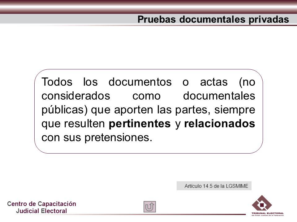 Centro de Capacitación Judicial Electoral Todos los documentos o actas (no considerados como documentales públicas) que aporten las partes, siempre qu