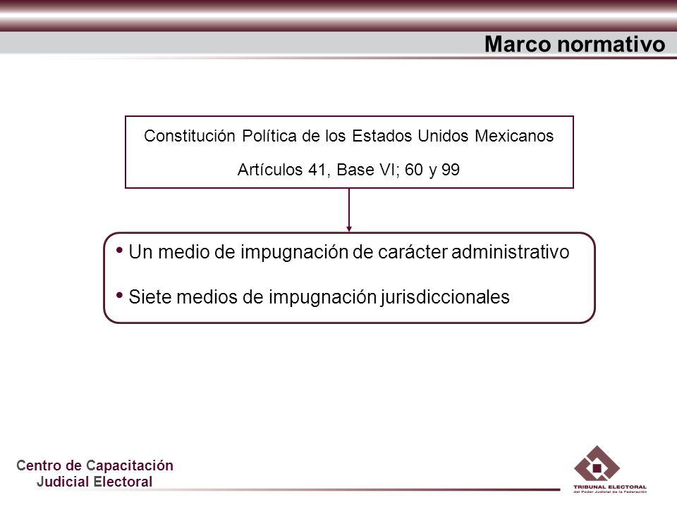 Centro de Capacitación Judicial Electoral Un medio de impugnación de carácter administrativo Siete medios de impugnación jurisdiccionales Marco normat