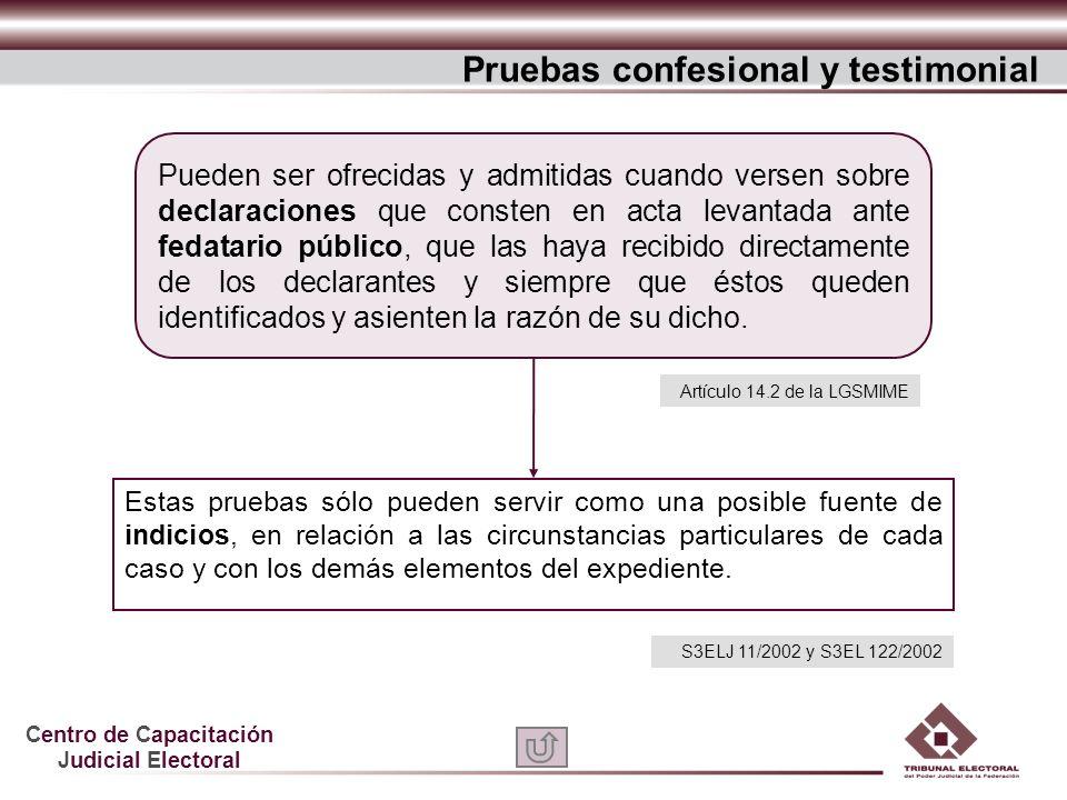 Centro de Capacitación Judicial Electoral Estas pruebas sólo pueden servir como una posible fuente de indicios, en relación a las circunstancias parti