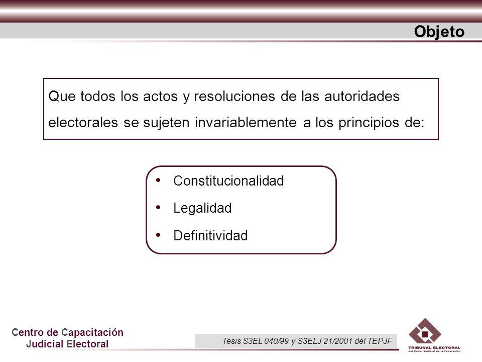 Centro de Capacitación Judicial Electoral Que todos los actos y resoluciones de las autoridades electorales se sujeten invariablemente a los principio