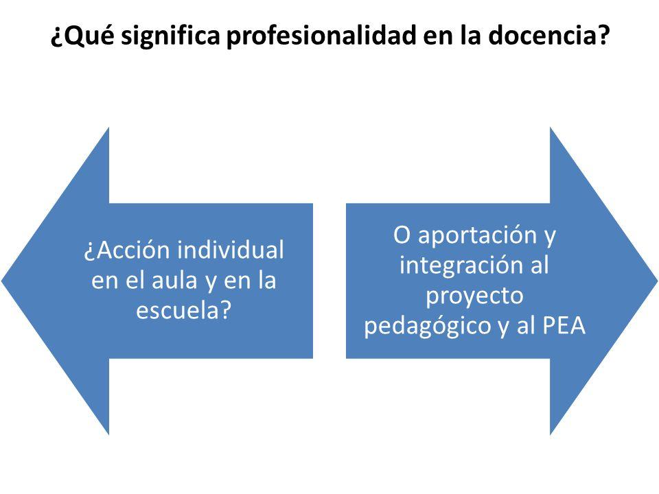 ¿Qué significa profesionalidad en la docencia? ¿Acción individual en el aula y en la escuela? O aportación y integración al proyecto pedagógico y al P