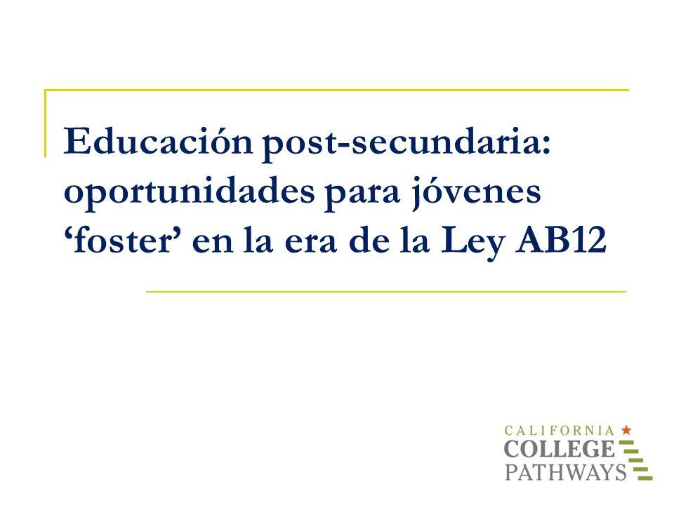 Agenda Presentaciones La ley AB12 – una nueva oportunidad Cómo motivar e inspirar - Descanso - La universidad – los temas básicos Visión general del sistema Admisión e inscripción Ayuda financiera Retención y programas de apoyo Preguntas y respuestas