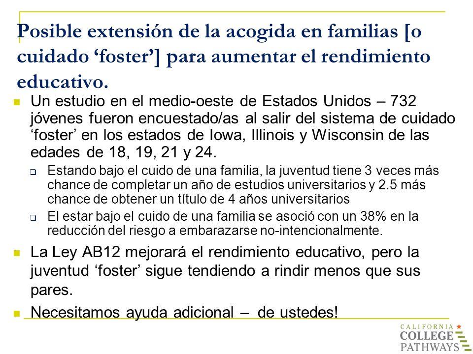 Posible extensión de la acogida en familias [o cuidado foster] para aumentar el rendimiento educativo. Un estudio en el medio-oeste de Estados Unidos