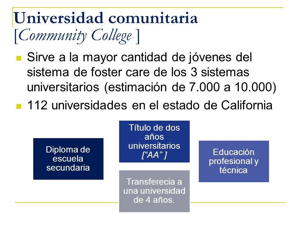 Universidad comunitaria [Community College ] Sirve a la mayor cantidad de jóvenes del sistema de foster care de los 3 sistemas universitarios (estimac