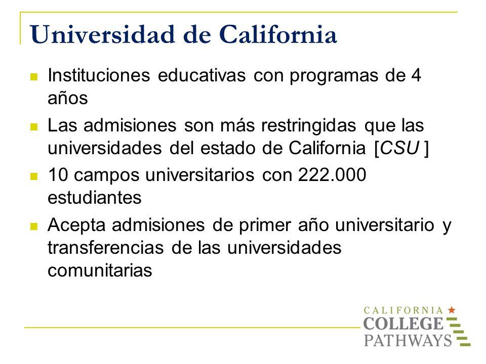 Universidad de California Instituciones educativas con programas de 4 años Las admisiones son más restringidas que las universidades del estado de Cal