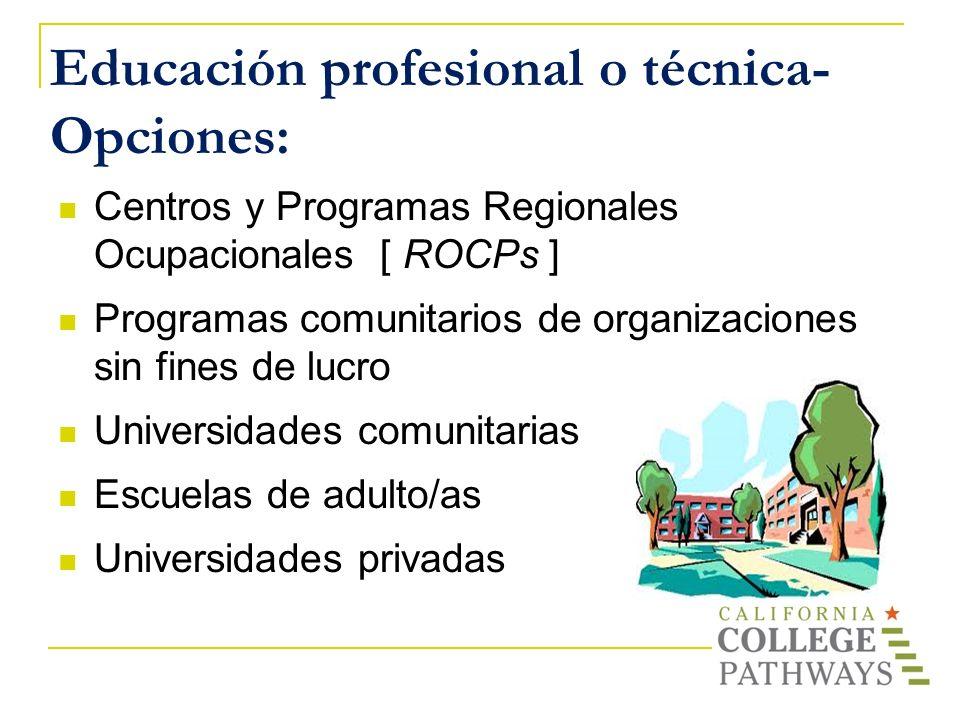 Educación profesional o técnica- Opciones: Centros y Programas Regionales Ocupacionales [ ROCPs ] Programas comunitarios de organizaciones sin fines d