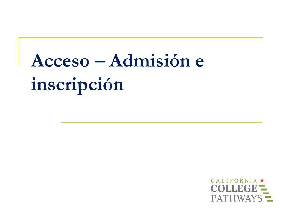 Acceso – Admisión e inscripción