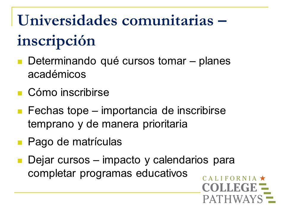 Universidades comunitarias – inscripción Determinando qué cursos tomar – planes académicos Cómo inscribirse Fechas tope – importancia de inscribirse t