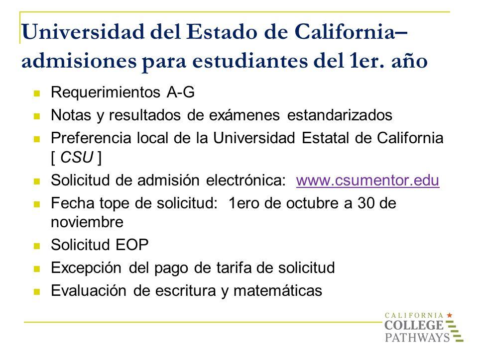 Universidad del Estado de California– admisiones para estudiantes del 1er. año Requerimientos A-G Notas y resultados de exámenes estandarizados Prefer