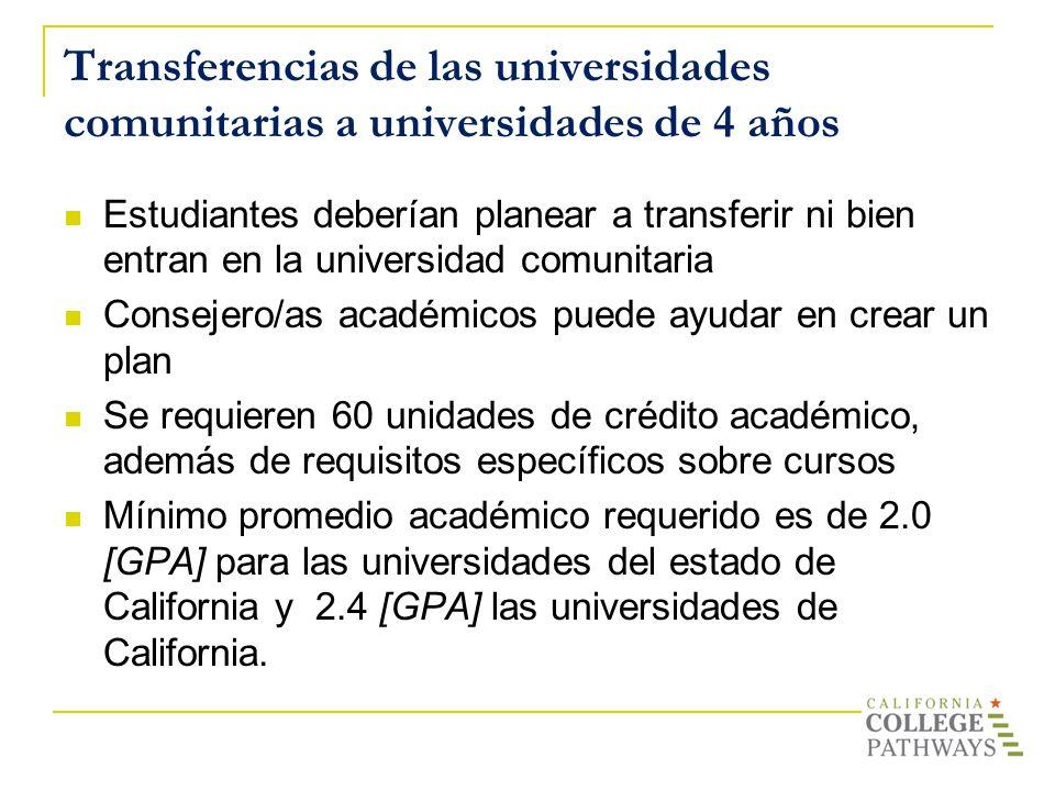 Transferencias de las universidades comunitarias a universidades de 4 años Estudiantes deberían planear a transferir ni bien entran en la universidad