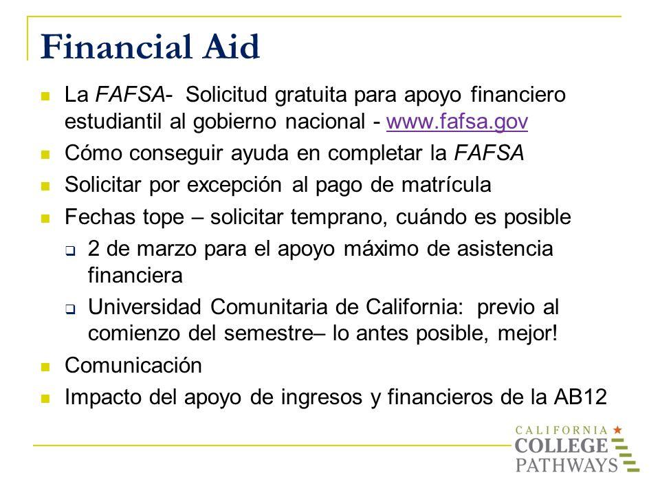 Financial Aid La FAFSA- Solicitud gratuita para apoyo financiero estudiantil al gobierno nacional - www.fafsa.govwww.fafsa.gov Cómo conseguir ayuda en