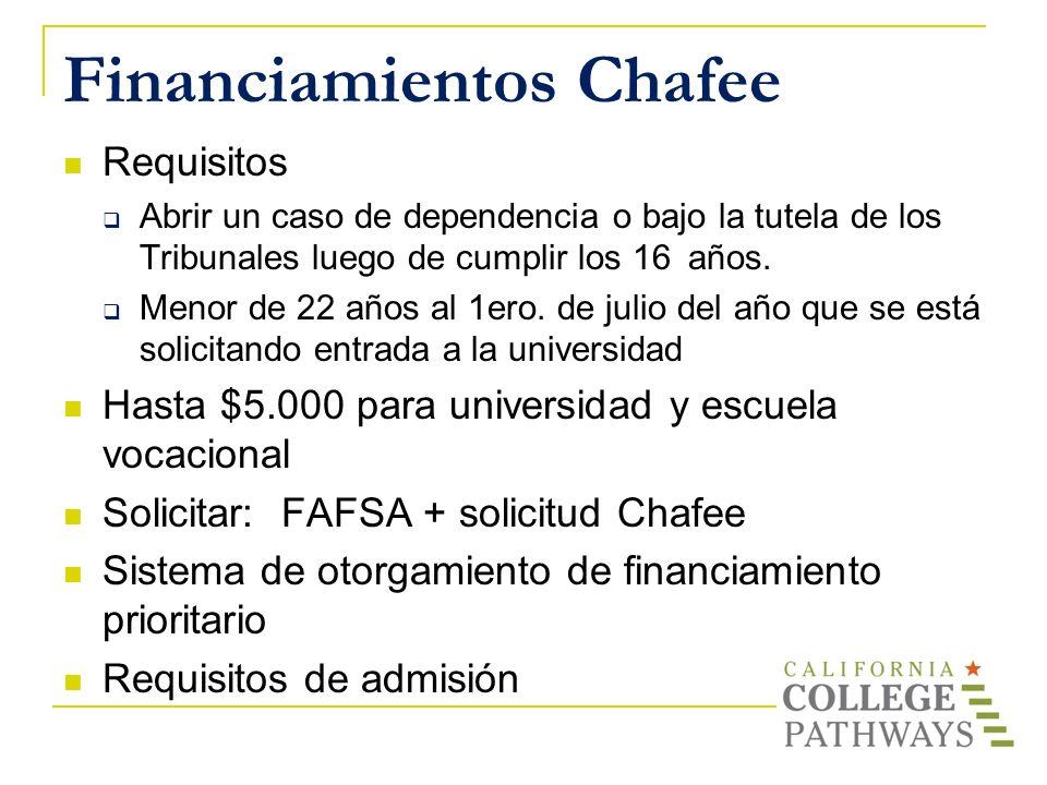 Financiamientos Chafee Requisitos Abrir un caso de dependencia o bajo la tutela de los Tribunales luego de cumplir los 16 años. Menor de 22 años al 1e