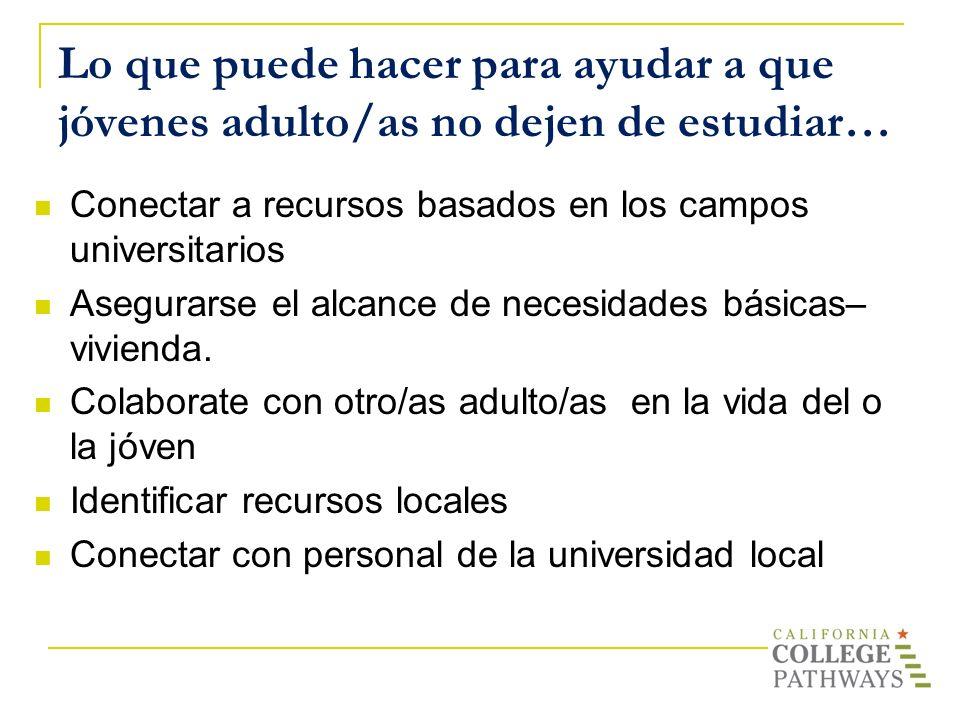 Lo que puede hacer para ayudar a que jóvenes adulto/as no dejen de estudiar… Conectar a recursos basados en los campos universitarios Asegurarse el al