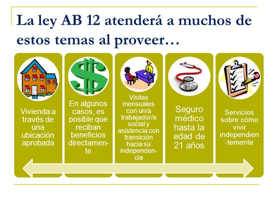 La ley AB 12 atenderá a muchos de estos temas al proveer… Vivienda a través de una ubicación aprobada En algunos casos, es posible que reciban benefic